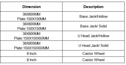 ringlock jack base size